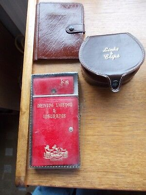 3 x 1960's Items=Leather Motorists Wallet=Driving Licence & Key Case & Stud Box.