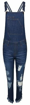 New Women Ladies Ripped Denim Cotton All In One Dungaree Button Fasten Overalls