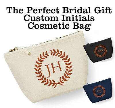 Personalised Initials Wreath Make Up Cosmetic Wash Bag Gift Bride Custom Bridal