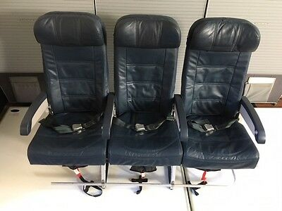 Airplane Triple Economy Seat  in Blue leather from Airbus  A320