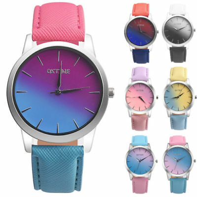 Retro Rainbow Damenuhr Leder Band Rund Armbanduhr Analog Alloy Quartz Wristwatch