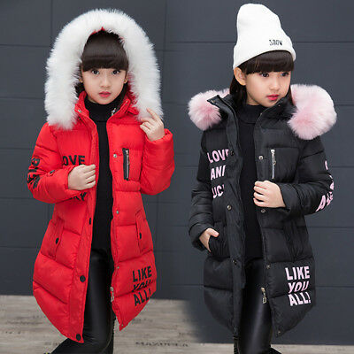 Girls Winter Jacket Thick Long Snowsuit Down Hooded Padded Warm Coat Parkas