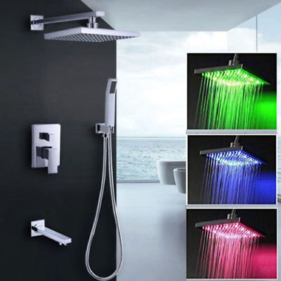 POIQIHY Brushed Nickel Shower Panel Tower LED Rain With Massage Body System Jet