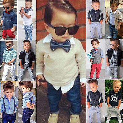 Newborn Toddler Kids Baby Boy Shirt Tops+Pants Outfits Set Party Gentleman Suit
