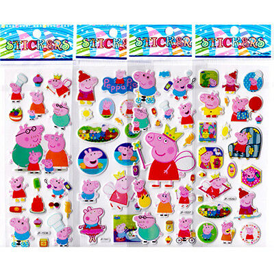 6 PCS Peppa Pig Stereo Sticker Kids Favorite Amazed Xmas Birthday Gift 2017 New