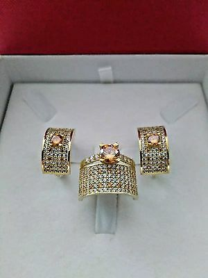925 Silver Handmade Jewelry Fabulous Micro Pave Citrine Ring & Earrings Set
