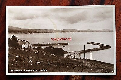 Early Photo Postcard Rp Ireland Co. Down Newcastle The Harbour