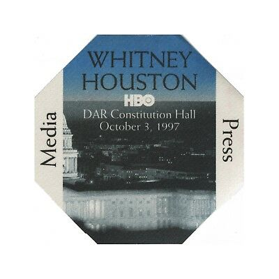 Whitney Houston authentic 1997 HBO concert DAR Hall Backstage Pass media blue