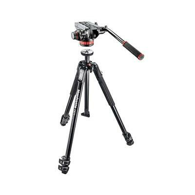 Manfrotto MVH502AH Pro Video Head w/Flat Base W/Manfrotto 190X 3 Section Tripod