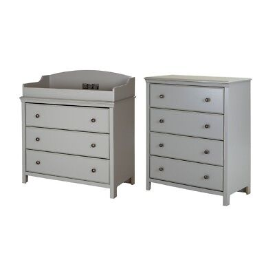 South Shore Furniture Cotton Candy 3-Drawer Changing Table and 4-Drawer Chest