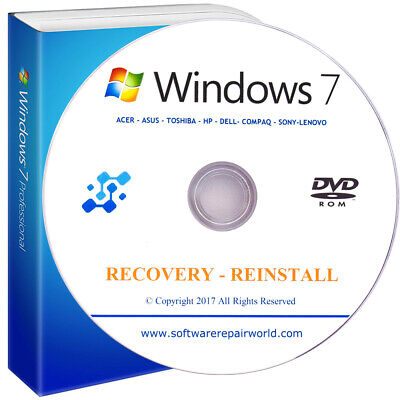 Recovery for Windows 7 All Versions Restore Reinstall PC Laptop Disk DVD