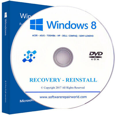 Recovery for Windows 8 Home and Professional Reinstall PC Laptop DVD Disk