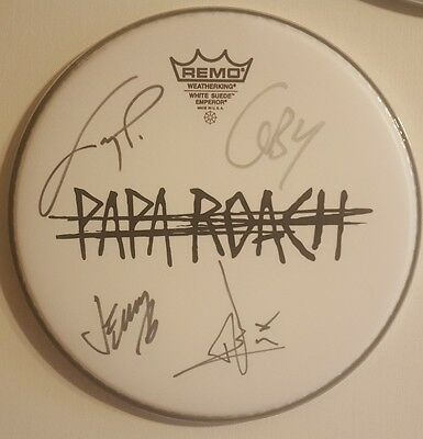 Rare! PAPA ROACH Autographed Drumhead with New Logo by All!