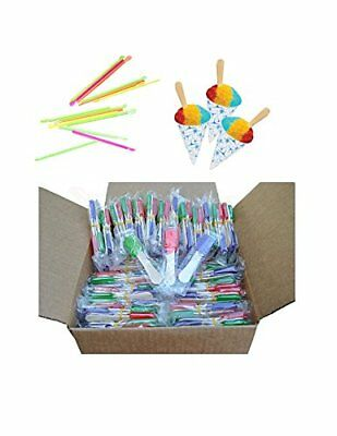 150 pcs Neon Straws and Paper Snow Cone Cups Ice Cream Cup Party Birthday Supply