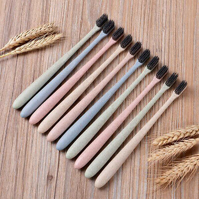 10Pcs Wheat Tooth Adults Straw Brush Bamboo Charcoal Cleaner Soft Toothbrush