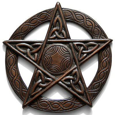Hand Carved Large Celtic Pentacle Plaque Fair Trade Wood