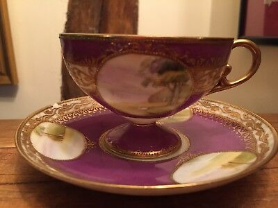 Noritake China Pedestal Cup And Saucer ( Chip) Japanese Country Views