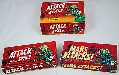 CUSTOM-MADE 1962 TOPPS MARS ATTACKS and ATTACK FROM SPACE WAX PACK DISPLAY BOXES