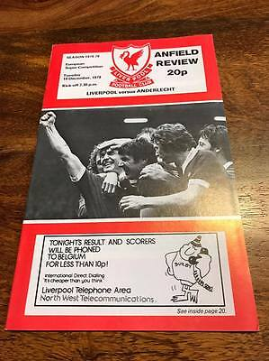 Liverpool V Anderlecht 1978 European Super Cup Final Programme Free Postage Look