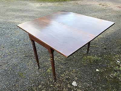 Solid Oak Antique Turn Over Leaf Table & Brass Feet Dining Dinner Vinage Retro