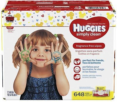 HUGGIES Simply Clean Baby Wipes, Unscented, Soft Pack, 9 pack 648 ea (Pack of 4)