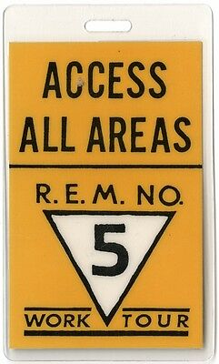 REM authentic 1987 concert Laminated Backstage Work Tour vintage original