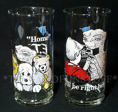 2 E.T. Extra-Terrestrial Drinking Glasses PIZZA HUT 1982 HOME I'll be Right Here