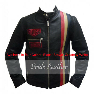 Steve McQueen Le Mans Driver Gulf Four Colors Leather Jacket (All Sizes)