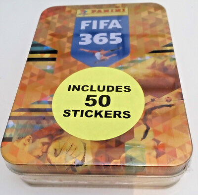 Panini FIFA 365 2018 STICKER COLLECTOR hinged POCKET TIN c/w 10 packets