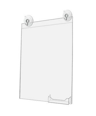 Window Sign Holder with Card Pocket 11 x 14 Inch w/ 2 Suction Cups (Lot of 2)