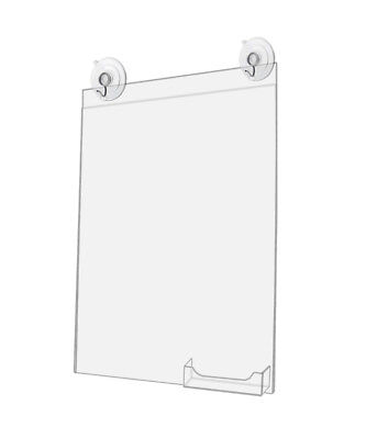 Window Sign Holder with Card Pocket 11 x 14 Inch w/ 2 Suction Cups (Lot of 4)