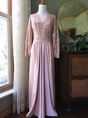 60s Dress Emma Domb Alencon Lace Rayon Crepe 1960s Vintage Cocktail Gown Nude
