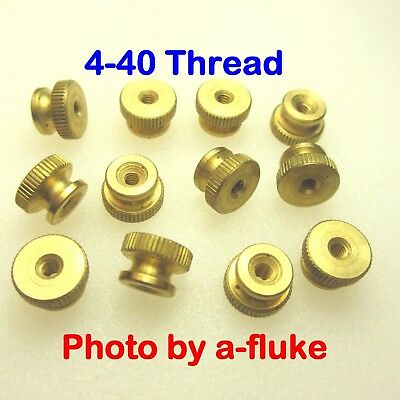 """Qty.12 Solid Brass Spark Plug Thumb Nuts 4-40 x 0.380"""" Dia.Top New Made in USA"""