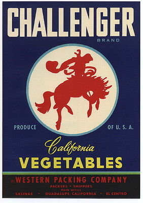 CHALLENGER Vintage Vegetable Crate Label, Western, Cowboy, *AN ORIGINAL LABEL*