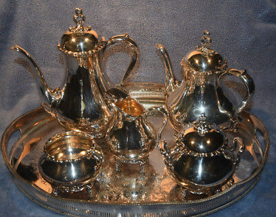 Reed & Barton Silverplate Provincial (7040) 5 Pc CoffeeTeapot Set with  R&B Tray