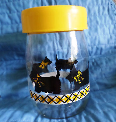 """Carlton Glass Canister 1L Collector Glass Jar with Scottie Dog Design 6 1/2"""" NEW"""