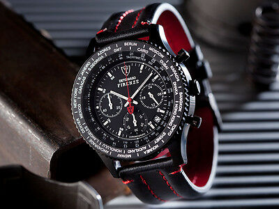 DETOMASO Firenze Chronograph Black Stainless Steel Red Dial New(23B)
