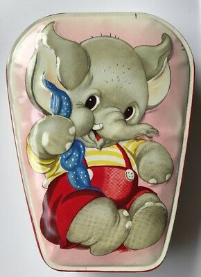 Vintage HORNER Tin Made in England Baby ELEPHANT Toffee Candy 1950's VGUC RARE