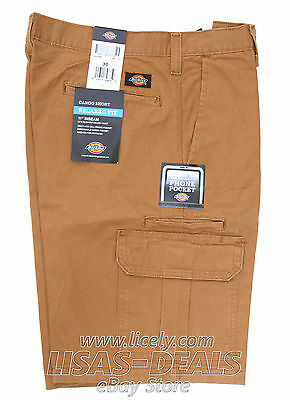 New Mens Dickies Cargo Short Cell Phone Pocket Relaxed Fit Black Brown 30