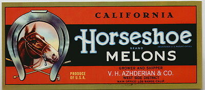 HORSESHOE Vintage Los Banos Melon Crate Label Polo, Horse, **AN ORIGINAL LABEL**