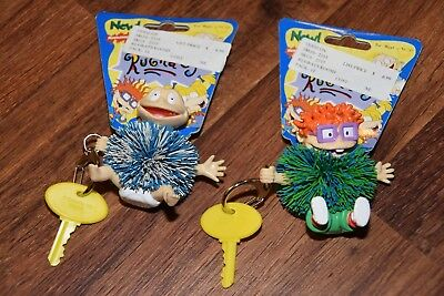 2 NEW 1998 OddzOn RUGRATS Keychain Koosh Ball Nickelodeon Toy Chuckie Tommy