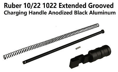 Aluminum 1022 10-22 Extended Grooved Round Charging Handle Black Anodized