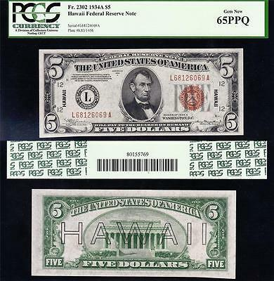 Amazing GEM UNC 1934 A $5 HAWAII Fed Reserve Note! PCGS 65 PPQ! L68126069A
