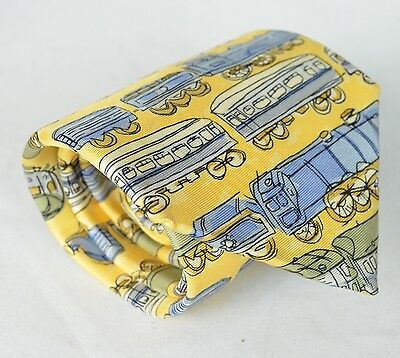 Tie Rack Windsor Collection Yellow Train Print Neck Tie 100% Silk Made in Italy