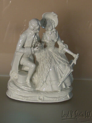 Ernest Bohne Germany White Porcelain Courting Couple Figurine Lamp Base
