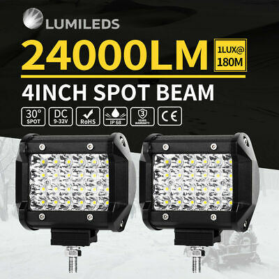 PAIR 4inch Philips LED Work Driving Light Bar Spot Beam Offroad Reverse 4WD Truc