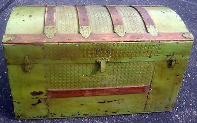 Antique Vintage Steamer Camelback Dome Curved Top Trunk treasure chest