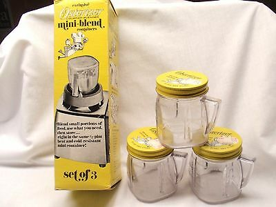 Vintage Osterizer 8 oz Mini Blend Containers - Set of 3 in Original Box