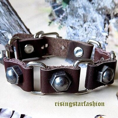 Men Trendy Metal Studs Motorcycle Rider Surfer Character Leather Bracelet