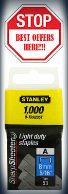 """Stanley Light Duty Staple 8mm 5 /16""""1000pc Type A Sharpshooter 0-TRA205T NEW"""